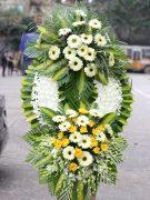 Đặt vòng hoa chia buồn sang trọng hoa đồng tiền trắng