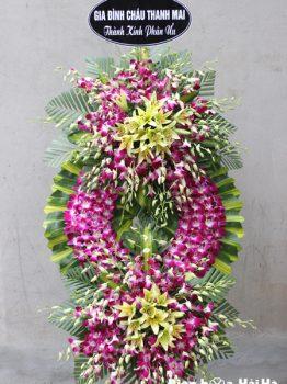 Đặt vòng hoa đám hiếu tại Hà Nội hoa lan tím ly vàngĐặt vòng hoa đám hiếu tại Hà Nội hoa lan tím ly vàng