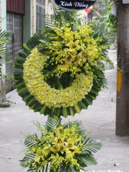 Đặt vòng hoa đám tang lan vàng sang trọng tại Hà Nội 2 tầng