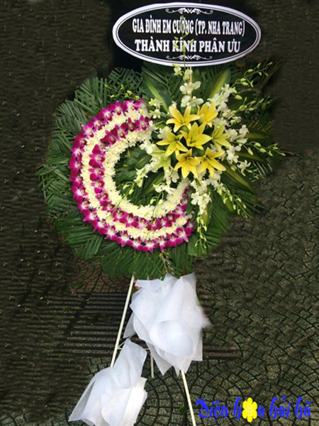 Mẫu 33: Đặt Vòng hoa màu tím viếng đám tang tại nhà tang lễ quận 5 thành phố Hồ Chí Minh, Liên hệ đặt 0919253139 (hoặc zalo).