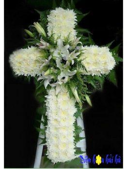 Mẫu 2.12: (#HV-091VN) Hoa đám tang hình thập giá tại HCM. Giá: 1.000.000 ₫