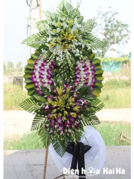 Đặt vòng hoa đám tang đẹp ở Hà Nội lan tím 2 đầu