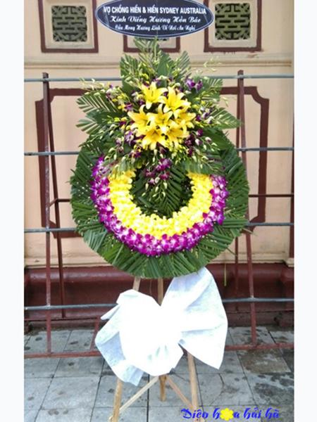 Đặt vòng hoa đám tang hoa lan tím lan vàng tại Hà Nội