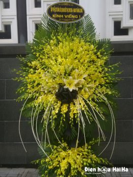 Đặt lẵng hoa đám tang lan vàng 2 tầng tại Hà Nội