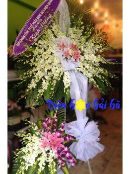 Lẵng hoa đám tang lan trắng tím ở Hà Nội hai tầng
