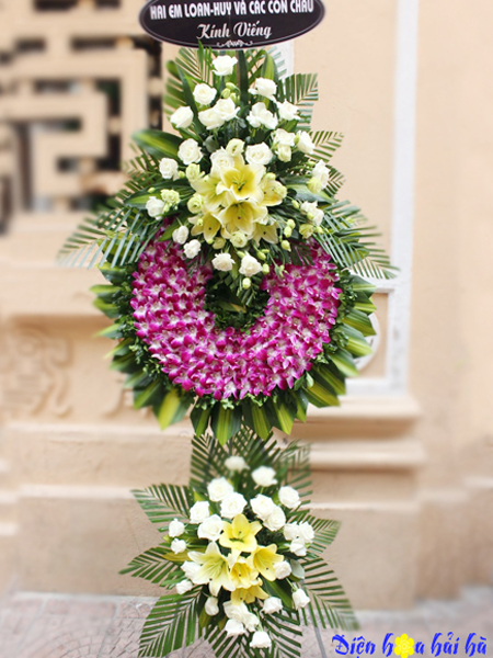 Mẫu 29: Đặt Vòng hoa màu tím viếng đám tang tại nhà tang lễ quận 5 thành phố Hồ Chí Minh, Liên hệ đặt 0919253139 (hoặc zalo).