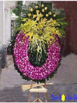 vong hoa đám tang tại nhà tang lễ 354 hoa lan tím