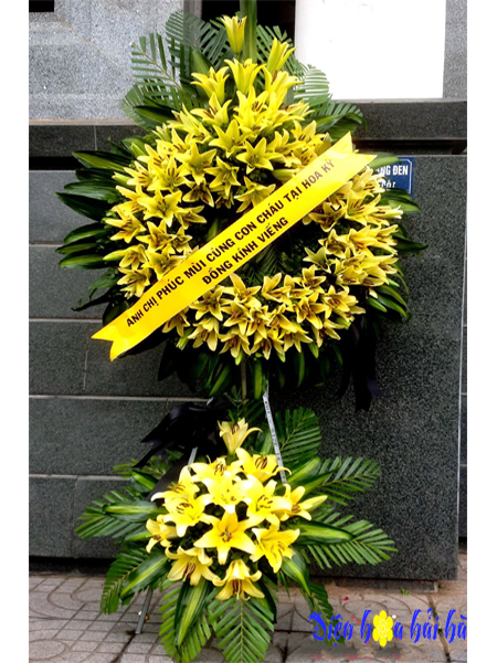 Mẫu 7: Đặt vòng hoa lan vàng tại nhà tang lễ bệnh viện quân y 175. Liên hệ đặt 0919253139 (hoặc zalo)
