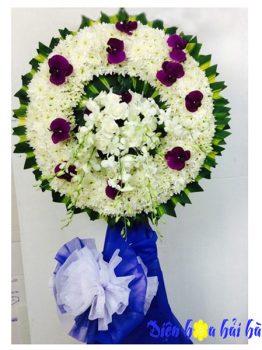 Mẫu 1.20: (#HV-083VN) Vòng hoa đám tang dùng hồ điệp tím ở tp HCM. Giá: 1.100.000 ₫. LH: 0919253139 (Zalo & viber)