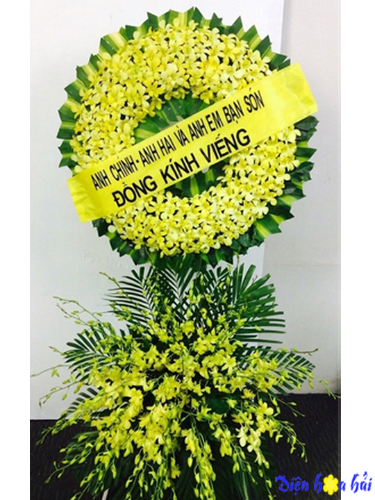 Mẫu 8: Đặt vòng hoa lan vàng tại nhà tang lễ bệnh viện quân y 175. Liên hệ đặt 0919253139 (hoặc zalo)