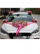 Bộ hoa giả kết xe cưới hồng sen hồng phấn nhẹ nhàng