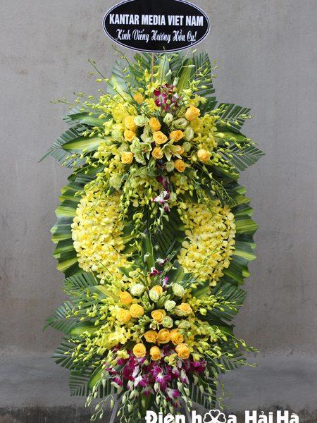 Mẫu 1: Đặt vòng hoa lan vàng tại nhà tang lễ bệnh viện quân y 175. Liên hệ đặt 0919253139 (hoặc zalo).