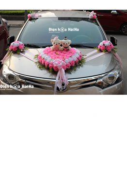 Bán hoa giả trang trí xe cưới hồng phấn giá rẻ mã XHG-058 đi cao tốc (1)