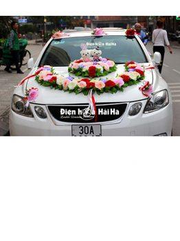 Bán hoa giả trang trí xe cưới vòng cung đôi gấu sang trọn mã XHG-094 (1)