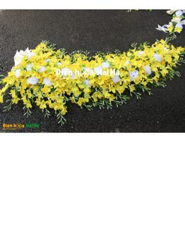 Bộ hoa giả trang trí xe cưới lan vàng giá rẻ mã XHG-100 hiện đại (1)