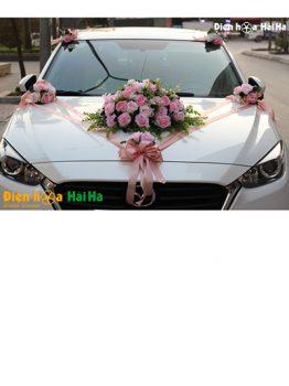 Bộ hoa xe cưới bằng lụa cụm hoa hồng phấn sang trọng mã XHG-097 (1)