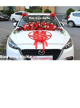Bộ hoa xe cưới bằng lụa chữ hỷ đỏ hiện đại mã XHG-119 sang trọng (1)