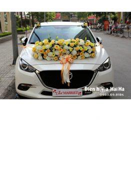 Bộ hoa xe cưới bằng lụa hồng vàng hồng trắng hot 2021 mã XHG-111 (1)