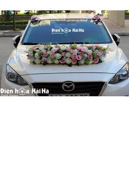 Bộ hoa xe cưới bằng lụa hoa xe cô dâu thanh lịch mã XHG-125 giá rẻ (1)