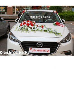 Bộ hoa xe cưới bằng lụa lan trắng hồng đỏ nổi bật mã XHG-132 giá rẻ (1)