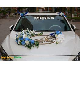 Bộ hoa xe cưới bằng lụa màu xanh dương Just Married mã XHG-104 (1)