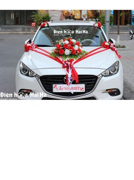 Hoa lụa kết xe cưới hồng đỏ phiên bản mới mã XHG-127 giá rẻ sang trọng (1)