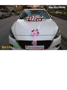 Hoa lụa kết xe cưới màu hồng hiện đại mã XHG-106 giá rẻ sang trọng (1)