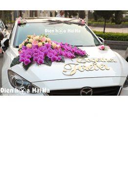 Hoa lụa trang trí xe cưới hồ điệp tím phú quý mã XHG-129 sang trọng (1)