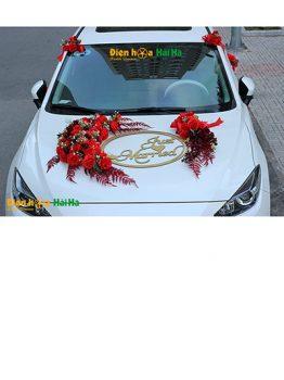 Hoa lụa trang trí xe cưới mẫu ovan đỏ mới hiện đại mã XHG-117 hot (1)