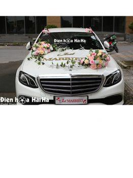 Hoa xe cưới bằng lụa cụm hồng trà sang trọng mã XHG-116 hiện đại (1)