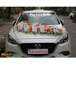 Hoa xe cưới bằng lụa hồ điệp trắng hồng cam mã XHG-101 sang trọng (1)