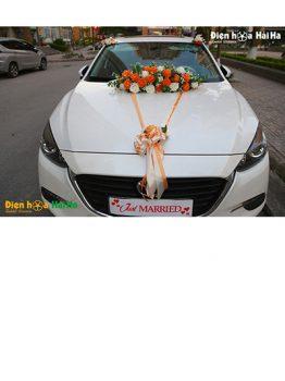 Hoa xe cưới bằng lụa hồng cam hiện đại mẫu mới mã XHG-107 giá rẻ (1)