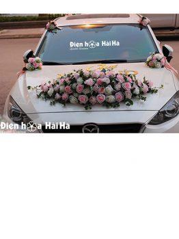 Hoa xe cưới bằng lụa thiết kế giọt nước độc đáo mã XHG-122 sang trọng (1)