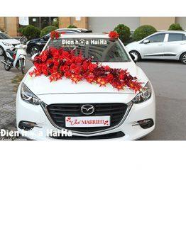 Mẫu xe hoa cưới bằng lụa tông đỏ hiện đại 4 nóc to mã XHG-110 bền đẹp (1)