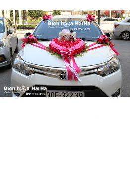 Trang trí xe cưới bằng hoa giả hồng sen phấn bền đẹp mã XHG-135 giá rẻ (1)