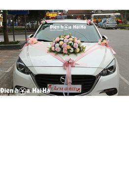 Trang trí xe cưới bằng hoa lụa 3 cụm hoa hồng mẫu mới mã XHG-126 (1)