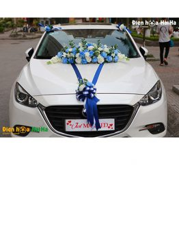 Trang trí xe cưới bằng hoa lụa mẫu hiện đại XHG-105 độc lạ sang trọng (1)
