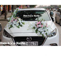 Trang trí xe cưới bằng hoa lụa song lan thiết kế mới mã XHG-133 giá rẻ (1)