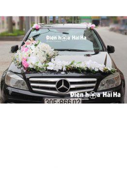 mua hoa giả trang trí xe cưới hồ điệp giá rẻ