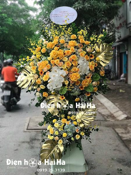 Đặt hoa khai trương - lẵng hoa đẹp chúc mừng hồng vàng sang trọng nhất