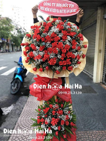 Lẵng hoa đẹp chúc mừng - hoa khai trương - Vinh Hoa Đủ Đầy