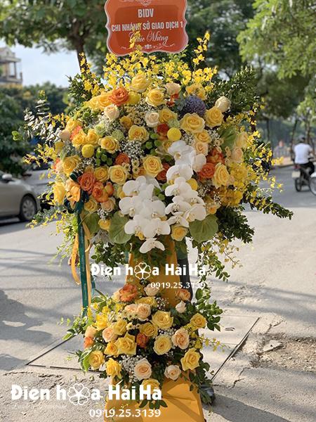 Lẵng hoa chúc mừng khai trương đẹp - Hoa khai phú quý sang trọng (1)