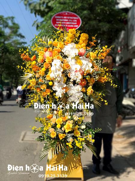 +25 mẫu lẵng hoa mừng khai trương cửa hàng mầu vàng hiện đại