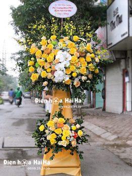 Lẵng hoa mừng khai trương giá rẻ hồng vàng - Kim Ngân