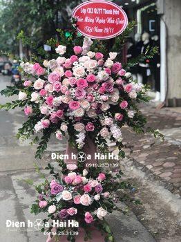 Lẵng hoa mừng khai trương giá rẻ tông hồng tím trang trọng