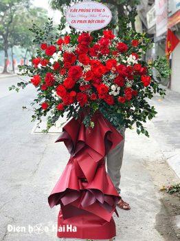 Kệ hoa khai trương 1 tầng hồng đỏ phát triển thuận lợi