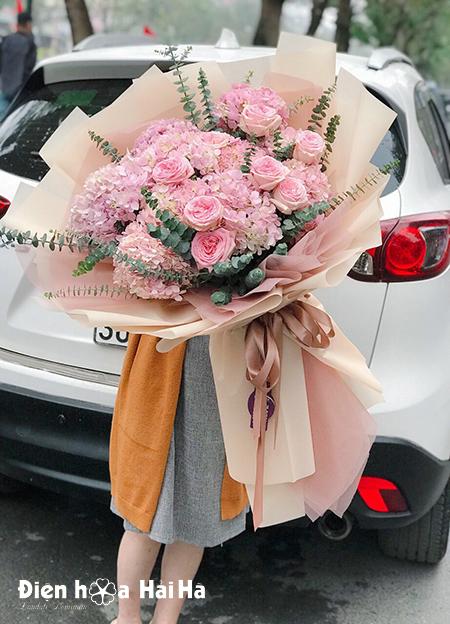 Bó hoa cẩm tú cầu hồng