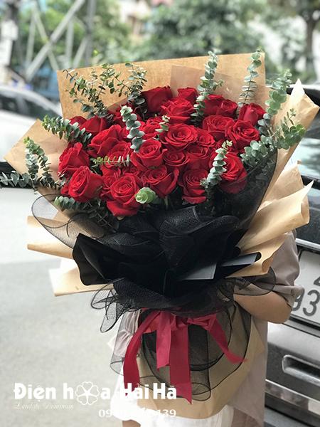 Bó hoa chúc mừng hồng đỏ Ngọc Sắc