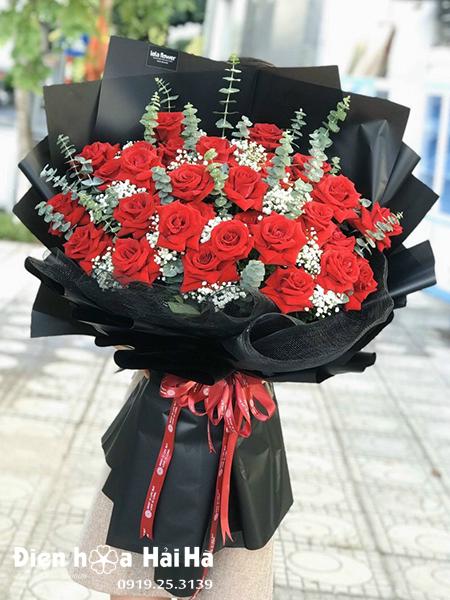 Bó hoa chúc mừng hồng đỏ tặng Vợ
