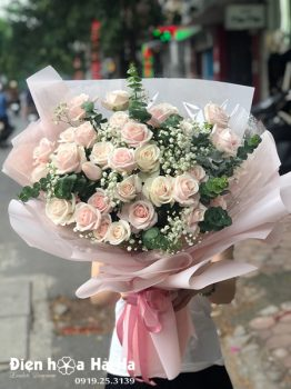 Bó hoa chúc mừng hồng kem